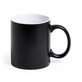 Taza ceramica negro mate personalizada con LASER co2